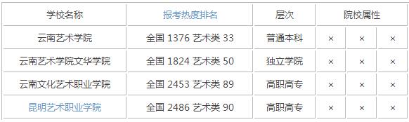 2015年云南艺术类大学排名