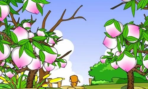 走著走著就來到了小河邊,看到對岸有一棵大桃樹,桃子又紅又大,好像在