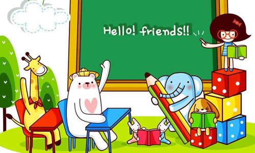 校园上课图片 卡通