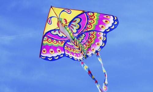 蔚蓝的天空中飞舞着一只又一只快乐的风筝,有憨厚可爱的大熊猫,有鼓着