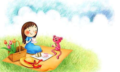 野餐蓝手绘图片