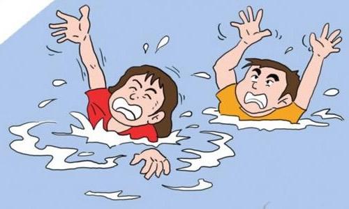 游泳溺水图片卡通