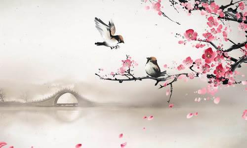 春天古诗背景彩铅手绘图