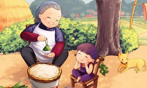 外婆抱小孩卡通图片