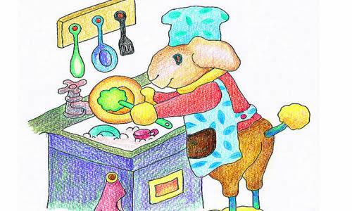 画儿童洗碗的简笔画