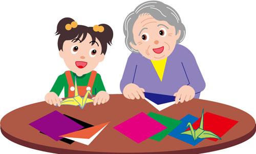 奶奶看报纸矢量图
