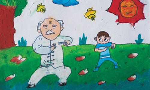 儿童画风景背影图片