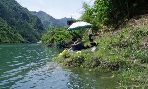 有的在捉鱼……他们是乡村里的孩子,他们无拘无束,因此他们正在河边