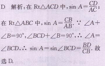 人教版数学书九年级下册习题28.1答案 2图片